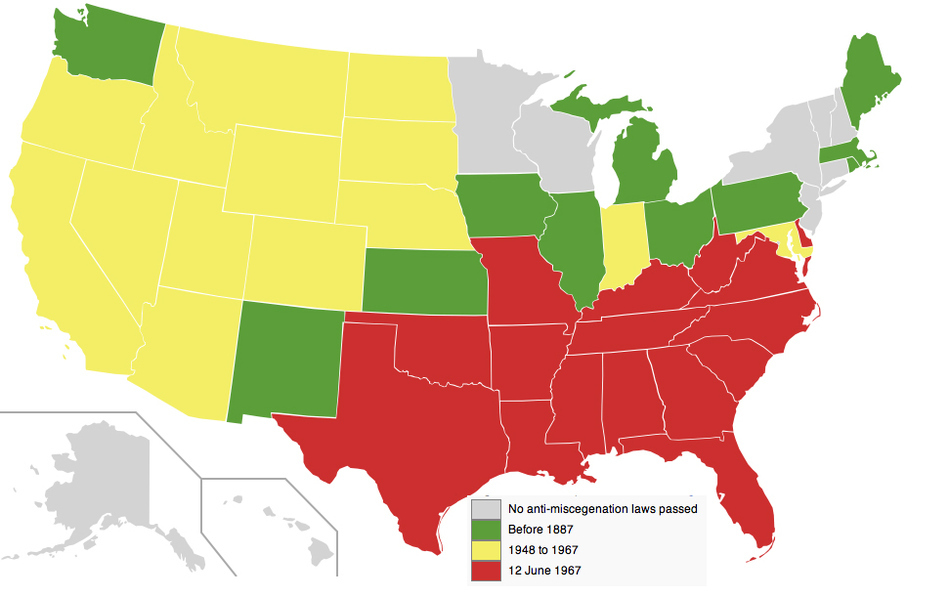 US Map shown anti-miscegenational laws